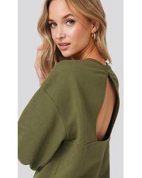 NA-KD Trend Cut Out Oversized Sweatshirt - Grün