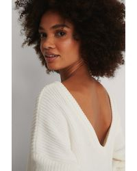 NA-KD Knitted Deep V-neck Sweater - Weiß