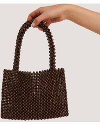 NA-KD Wood Pearl Bag - Bruin
