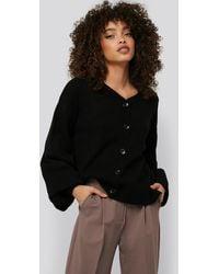 NA-KD Short Chunky Knit Cardigan - Zwart