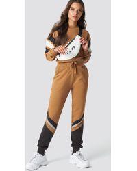 NA-KD - Stripe Blocked Sweatpants Mauve - Lyst