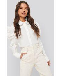 NA-KD Puff Shoulder Shirt White