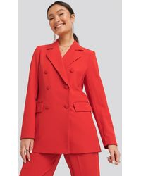 NA-KD Double Breasted Blazer - Rood