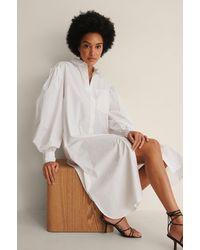 NA-KD Organisch Oversized Shirtjurk - Wit