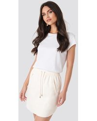 NA-KD Faux Leather Casual Skirt - Natur