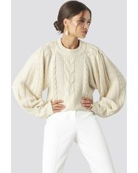 NA-KD Chunky Cable Knitted Sweater White