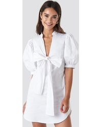 NA-KD Puff Sleeve Tied Front Short Dress - Wit
