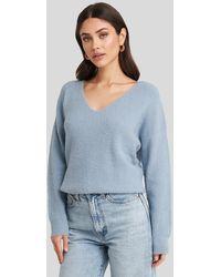 NA-KD Oversized V Neck Knitted Sweater - Bleu