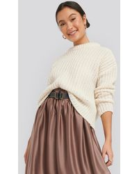 NA-KD Mohair Blend Chunky Ribbed Sweater - Wit