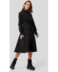 NA-KD Trend Tied Waist Shirt Dress - Schwarz