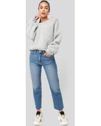 NA-KD Chunky Knitted Off Shoulder Sweater - Grijs