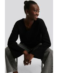 NA-KD - Alpaca Knitted V-Neck Sweater - Lyst