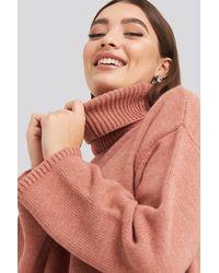 NA-KD Wide Sleeve Oversized Roll Neck Sweater - Roze