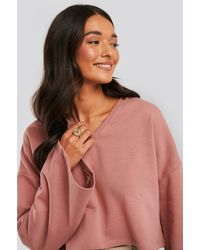 NA-KD Pink Cropped V Neck Oversized Jumper - Multicolour