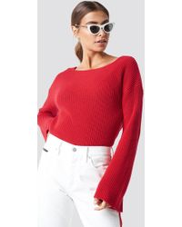 NA-KD - Cropped Long Sleeve Knitted Sweater Racing Red - Lyst
