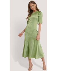 Glamorous Green Satin Shift Midi Dress