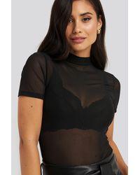 NA-KD Short Sleeve Mesh Top - Zwart