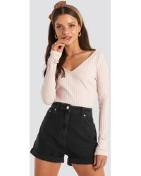 NA-KD Turn Up Mom Shorts - Zwart