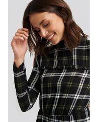 Trendyol Black Plaid Sheer Neck Dress