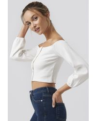 NA-KD White Recycled Puff Sleeve Button Up Crop Top