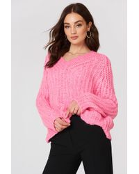 Mango - V-neckline Oversize Sweater Pink - Lyst