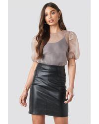 NA-KD High Waist Short Pu Skirt - Zwart