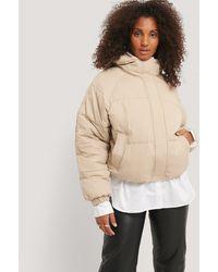NA-KD Beige Padded Hood Drawstring Jacket - Natural