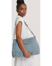 NA-KD Blue Puffed Nylon Clutch Bag