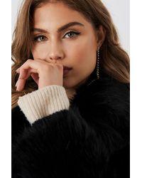 NA-KD Faux Fur Collar Long Jacket - Zwart