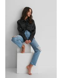 Trendyol Ripped Straight Jeans - Blauw