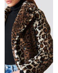 NA-KD Faux Fur Leo Coat - Meerkleurig