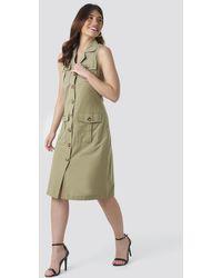 Trendyol Buttoned Linen Dress - Groen