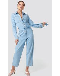 NA-KD Waist Belt Denim Jumpsuit - Blauw