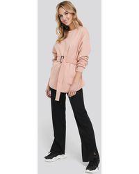 NA-KD Belted Sweatshirt - Roze