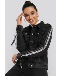 NA-KD Tape Zip Detail Denim Jacket - Zwart