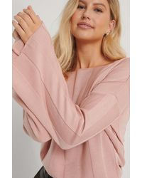 NA-KD Pink Big Ribbed Cropped Knitted Sweater