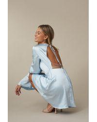 NA-KD Blue Open Back Flowy Dress