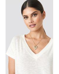 NA-KD Leaf Pendant Double Necklace Gold