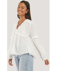NA-KD Structured Frill Blouse White
