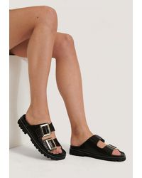 NA-KD Brown Leather Chunky Buckle Sandals