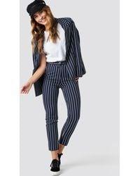NA-KD Blue Navy Striped Suit Pants