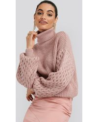 NA-KD Sleeve Detailed Knitted Polo Sweater - Roze