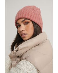 NA-KD Pink Cableknit Beanie