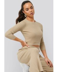 NA-KD - Round Neck Ribbed Knitted Sweater - Lyst