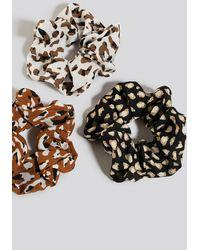 NA-KD 3-pack Leo Print Scrunchies - Meerkleurig