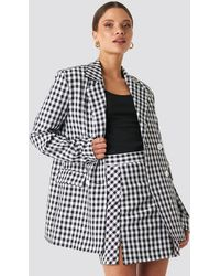 NA-KD Gingham Double Breasted Blazer - Noir