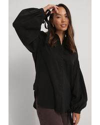 NA-KD Oversized Shirt Met Ballonmouwen - Zwart