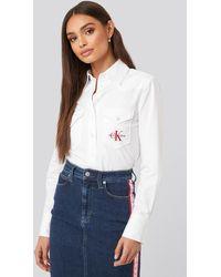 Calvin Klein Cotton Satin Western Crop Shirt - Wit