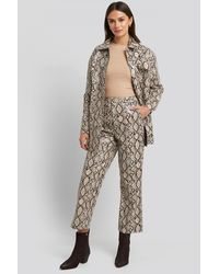 NA-KD Snake Printed Cropped Pants - Multicolore