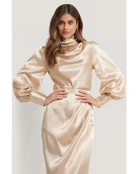 NA-KD Beige Satin Draped Blouse - Natural